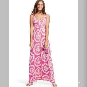 Boden Pink and White Floral Jersey Maxi Dress